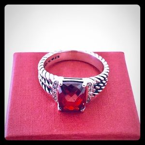 David Yurman 8 Petite Wheaton Garnet Ring Diamonds